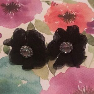 Black Floral Fabric Earrings